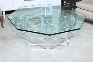 Beautiful 197039s octagonal lucite and glass coffee table for Octagon glass top coffee table