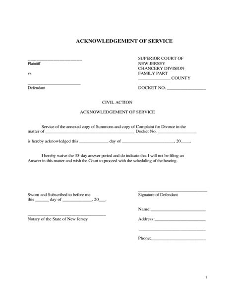 acknowledgement form acknowledgement of service form new jersey free