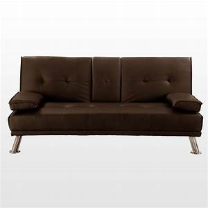 Rome 3 seater sofa bed faux leather w fold down table for Flip down sofa bed