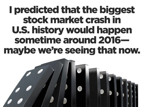 """The crypto and stock market are two different beasts. """"I predicted that the biggest stock market crash in U.S. history would happen sometime around ..."""
