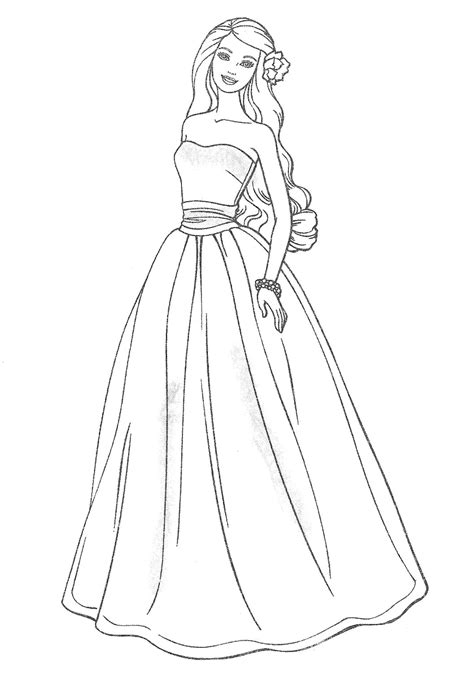 Drawn Wedding Dress Coloring Page Pencil And In Color