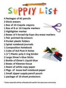 School Supplies List 4th Grade