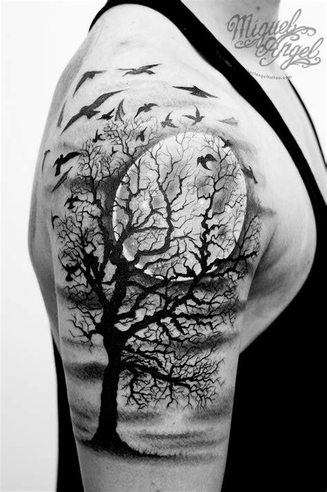 Tree, birds and full moon custom tattoo | tattoos | Forest tattoos, Tattoos, Cloud tattoo