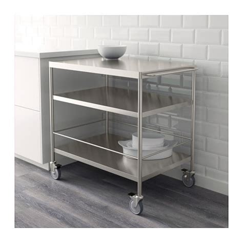 kitchen storage trolleys flytta kitchen trolley stainless steel 98x57 cm ikea 3194