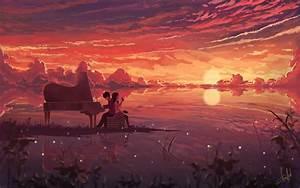 Anime, Manga, Artwork, Digital, Art, Illustration, Couple, Piano, Wallpapers, Hd, Desktop, And