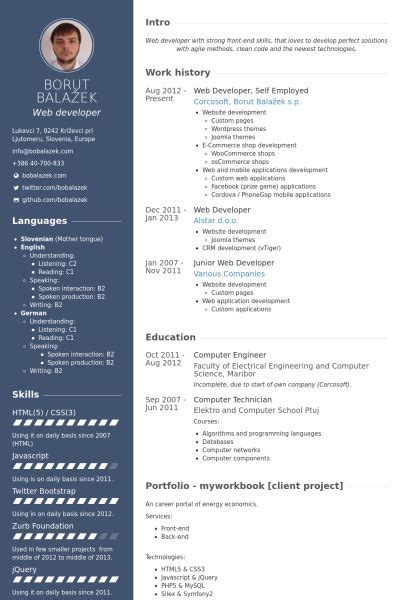web developer  employed resume  web
