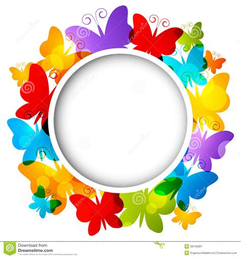 rainbow butterflies frame stock vector illustration