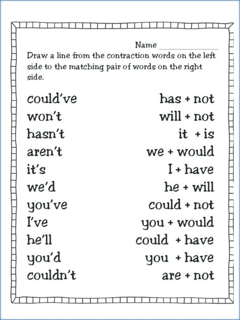 contractions worksheets  improving  grammar