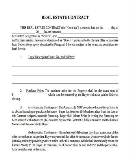 real estate contract form samples  sample