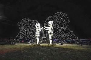 Large wire frame sculpture shows the glowing forms of for Milov wireframe sculpture