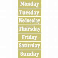 English 7 Days Of The Week Stencils