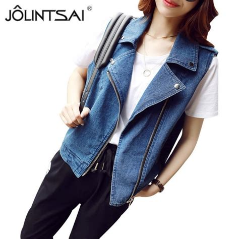 Buy Sleeveless Women Denim Casual Ladies Jackets Blue