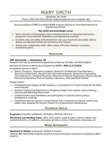sample resume   entry level mechanical engineer