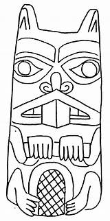Coloring Pages Totem Beaver Pole Drawing Poles Native American Animal Outline Craft Draw Totems Tiki Beavers Animals Drawings Adults Colouring sketch template