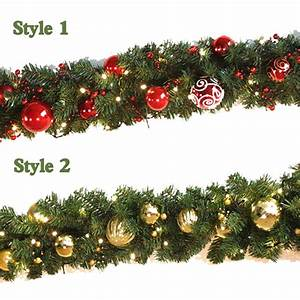 2, 7m, Christmas, Garland, Green, With, Red, Gold, Bows, Lights, Ornaments, Christmas, Decorations, For, Home