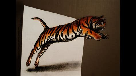 draw  jumping tiger anamorphic drawing optical