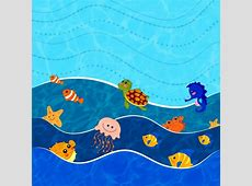 Ocean world background various animals icons stylized