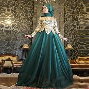 2015 emerald green hijab long sleeve evening dresses With robe pour femme voilée