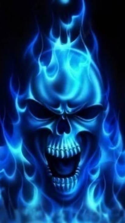 Skull Galaxy Samsung Wallpapers Flames Burning Skulls