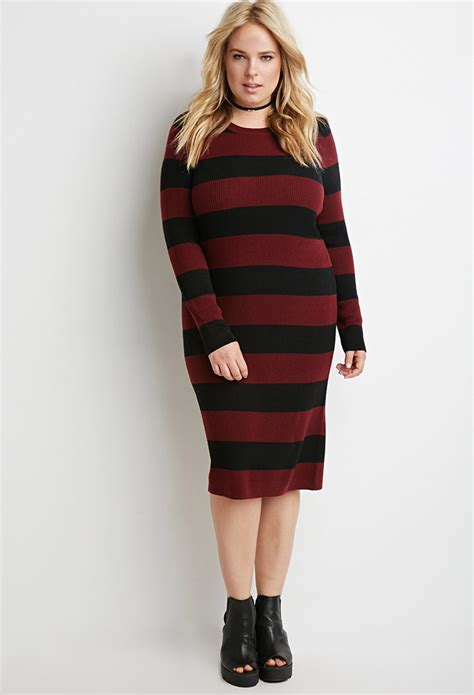forever 21 sweater dress forever 21 plus size striped rib sweater dress in