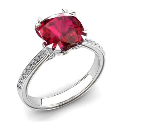 ruby engagement ring in 14k white gold 2 25 carats for sale