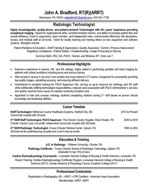 Tech Resume by Rad Tech Resume Free Excel Templates