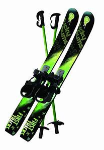 : Lucky Bums Kid's Beginner Snow Skis and Poles (Green ...