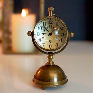 Round, Brass, Gold, Desk, Clock, By, The, Luxe, Co