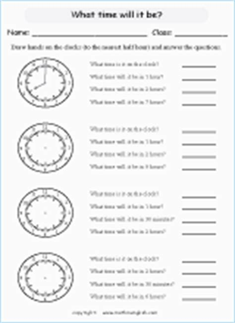 draw the hour and minute hand on each clock time worksheet to the nearest 30 minutes through