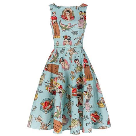 Boat Neck Frock by Autumn Dress Vintage 50s Blue Ti Amo Frida Kahlo