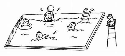 Swimming Pool Clipart Clip Outline Drawing Kid