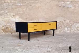 Pied De Meuble Vintage : meuble bas tv vintage bois pieds compas ~ Dallasstarsshop.com Idées de Décoration