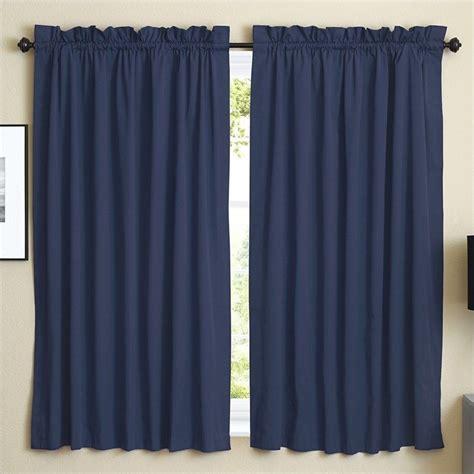 blazing needles twill curtain panels in navy blue set of