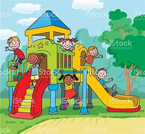 Playground clipart children park - Pencil and in color ...