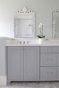 Gray dual bathroom vanity transitional bathroom for What kind of paint to use on kitchen cabinets for bathroom wall art pictures
