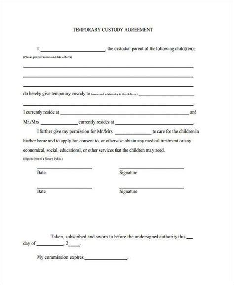 temporary guardianship agreement form template custody