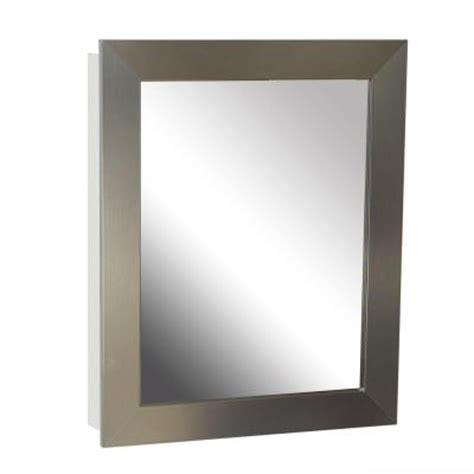 Brushed Nickel Medicine Cabinet Surface Mount by Zenna Home 24 In X 30 In X 5 In Recessed Or Surface