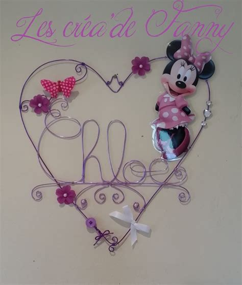 deco chambre minnie toile anniversaires personnalisable avec étiquettes violets