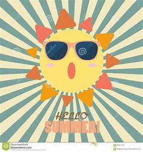 Hello Summer With Happy Sun On Sunburst Pattern Stock ...