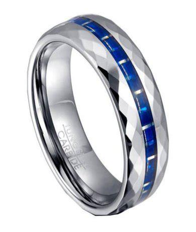tungsten blue carbon fiber ring  men  faceted