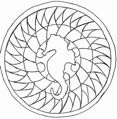 Mandala Mandalas Coloring Easy Sea Horse Animal