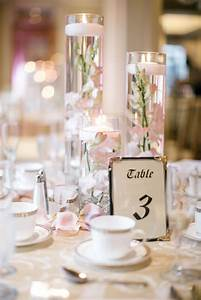 Floating, Candle, Centerpieces, With, Blush, Orchids, And, Rose, Gold, Table, Linens
