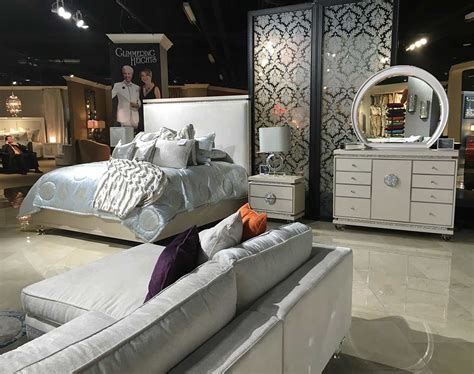 glimmering heights upholstered bed by aico aico bedroom