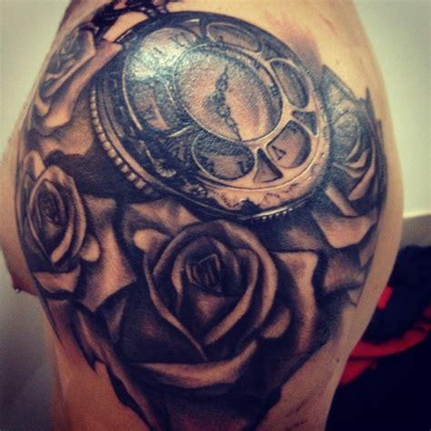 roses clock deep  dark shoulder piece     style art pinterest clock