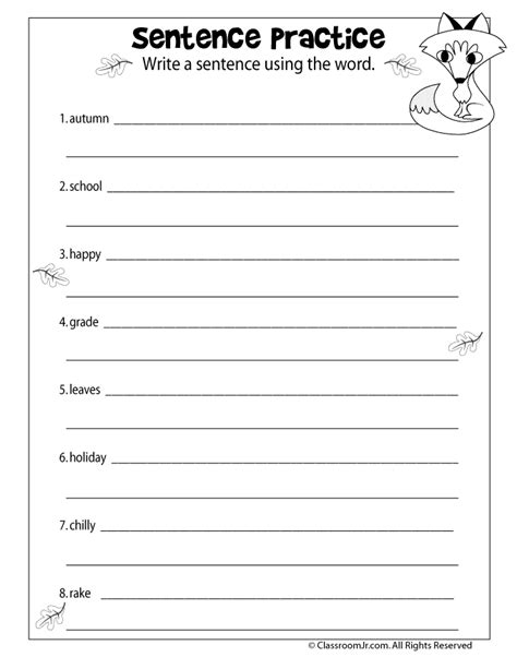 sentence practice worksheet woo jr activities