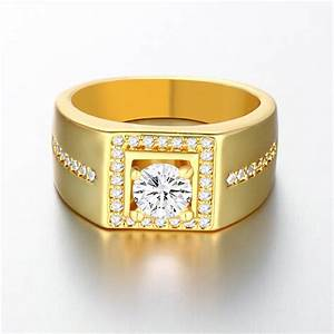 18k real gold plated men ring with aaa cz diamond 18k With gold diamond wedding rings for men