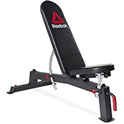 amazoncom reebok  cage reebok deluxe utility training bench cap barbell olympic bar