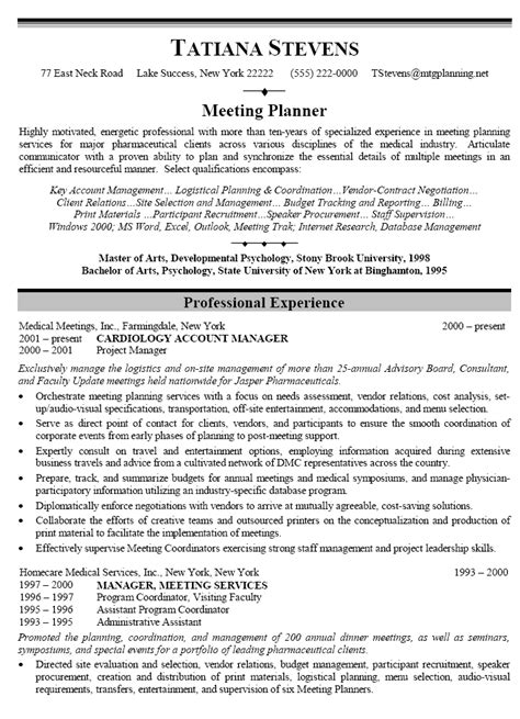 Planner Resume by Resume Sle For Meeting Planner