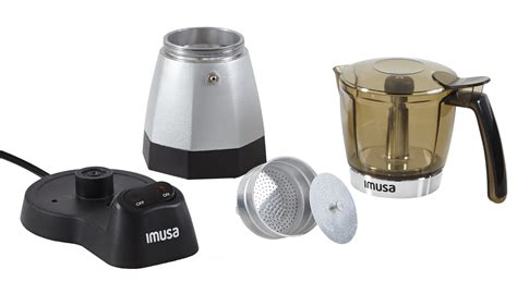 Imusa espresso maker allows you to be a barista at home! IMUSA IMUSA USA Electric Moka Maker 3 cup & 6 cup 480 Watts, Silver