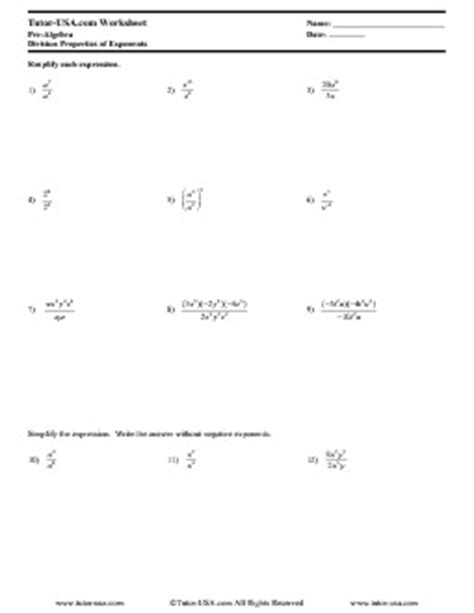 worksheet exponents division properties of exponents